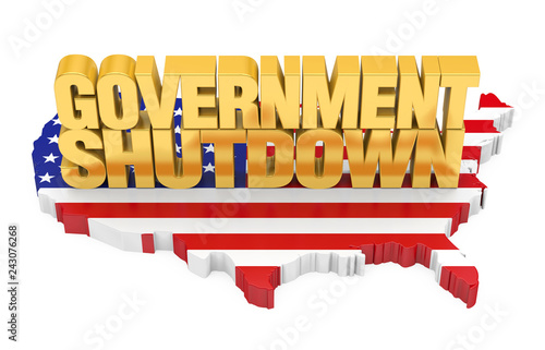 Government Shutdown with United States Map Flag Isolated\