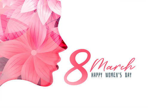 women's day poster with girl face made with flower