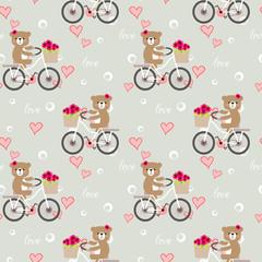 Seamless pattern of cute bear ride a bike in Valentine background.