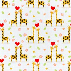 Cute couple giraffee seamless pattern.