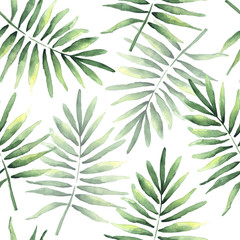 Seamless pattern of tropical coconut leaves