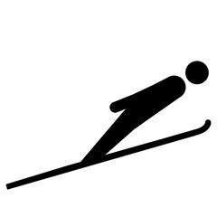 nwss36 NewWinterSportSign nwss - gz286 GrafikZeichnung - siwb533 SignIsolatedWhiteBackground siwb - german - Skispringen - english - ski jumping - simple template - square g7062