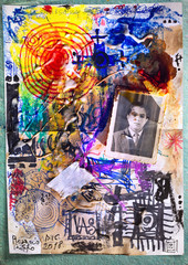 Photo sur Plexiglas Imagination Mysterious and esoteric manuscript with symbols and ancient photographs