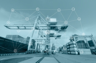 Fototapete - Business Logistics concept global partner connection of Container Cargo freight ship for Logistic Import Export background,