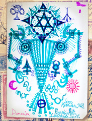 Door stickers Imagination Drawing with ethnic and esoteric figures