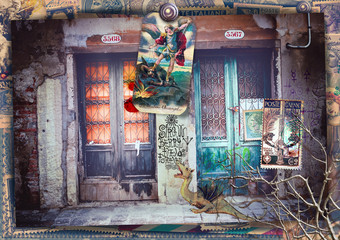 Photo sur Plexiglas Imagination Surreal and macabre doors on a fantastic road