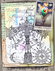 In de dag Imagination Ethnic eagle steampunk collage and scraps