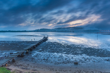 Misty Blue Dawn Bay Waterscape with Wharf