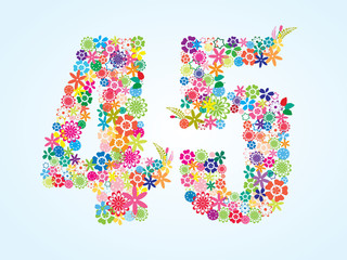 Vector Colorful Floral 45 Number Design isolated on white background. Floral Number Forty Five Vector Typeface.