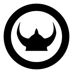 Viking helmet icon black color illustration in circle round