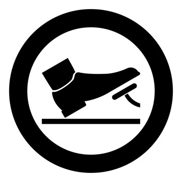 Foot pushing the pedal gas pedal brake pedal auto service concept icon black color illustration in circle round