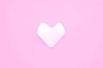 White origami heart shape paper