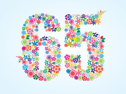 Vector Colorful Floral 65 Number Design isolated on white background. Floral Number Sixty Five Vector Typeface.