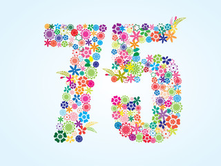 Vector Colorful Floral 75 Number Design isolated on white background. Floral Number Seventy Five Vector Typeface.