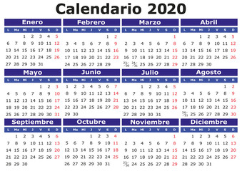 Spanish Calendar 2020 horizontal