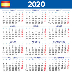 Year 2020 squared calendar spanish week starts on monday