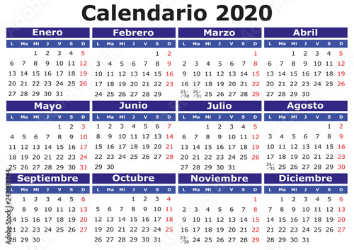 Calendario 2020 2020.Spanish Calendar 2020 Horizontal Stock Image And Royalty