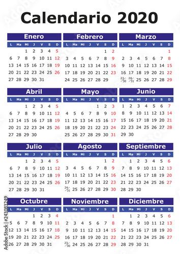 Calendario 2020 Con Foto Gratis.Spanish Calendar 2020 Stock Image And Royalty Free Vector