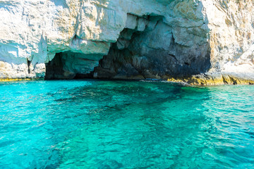 Greece, Zakynthos, Turquoise clear ocean water at blue caves of zante island