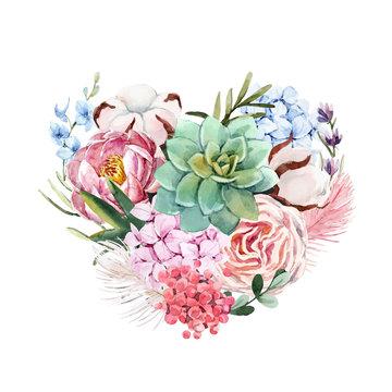 Watercolor floral vector heart composition