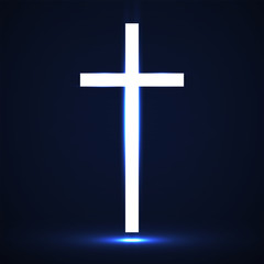 Abstract glowing christian cross. Religious symbol. Vector