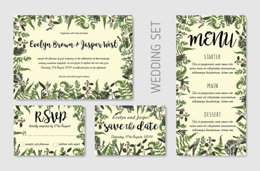 Wedding Invitation, floral invite, thank you, rsvp card design. Eucalyptus, forest fern, herbs, eucalyptus, branches boxwood, buxus, brunia, botanical green, decorative frame print. Vector elegant