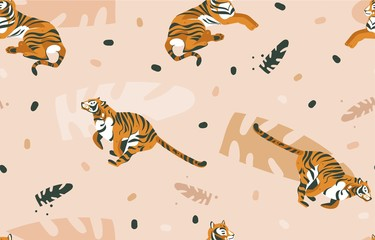 Hand drawn vector abstract cartoon modern graphic African Safari Nature illustrations art collage seamless pattern with tigers animals and tropical palm leaves isolated on color brown background
