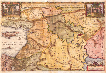 Old map of Israel, 1657, Visscher Map of the Holy Land or the Earthly Paradise