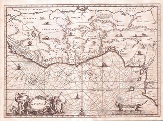 Old Map of West Africa, Gold Coast, Slave Coast, Ivory Coast, 1670, Ogilby