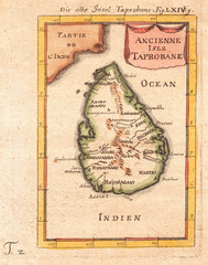 Wall Mural - Old Map of Ceylon or Sri Lanka, Taprobane 1686