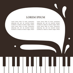 Backdrop with piano and text. Brown and white hand drawn background, design illustration vector. Decorative wallpaper, good for printing