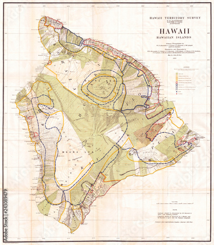 Old Map of the Island of Hawaii 1901, Land Office