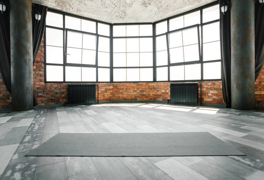 Loft yoga studio, copy space