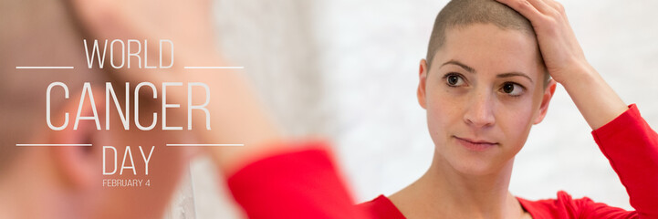 Young adult female cancer patient looking in the mirror, smiling, happy about her new short hair. World Cancer Day Banner.