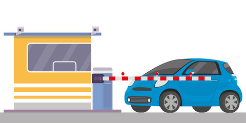 Garden Poster Cartoon cars Security cabin,gate and blue car,entrance of parking