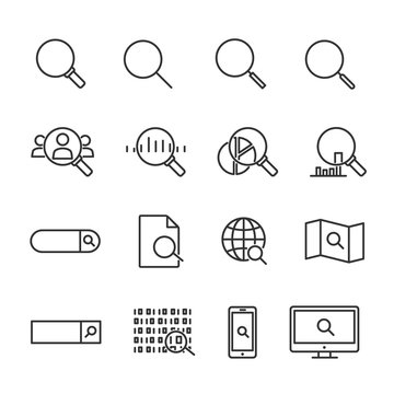 Vector illustration set of search line icons.