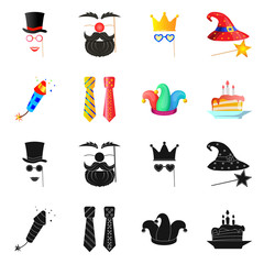 Vector design of party and birthday icon. Set of party and celebration vector icon for stock.