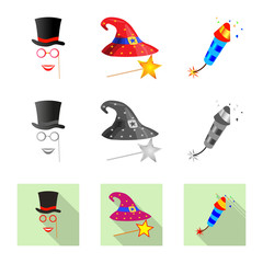 Isolated object of party and birthday icon. Collection of party and celebration vector icon for stock.
