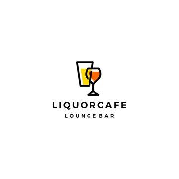 liquor store shop cafe beer wine logo vector icon illustration