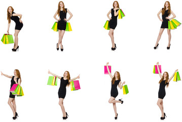 Young woman wth bags in shopaholic concept