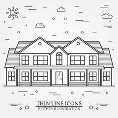 Vector thin line icon suburban american house. For web design and application interface, also useful for infographics. Vector dark grey. Vector.