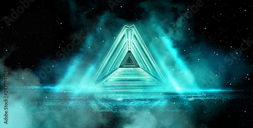 Neon pyramid, light triangle, in empty dark outer space with