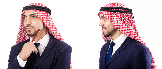 Arab man in suit isolated on white