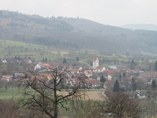 Schwarzwald. Blick auf die Ortsteile Obereggenen und das blühende Eggenertal im Markgräflerland. Landkreis Lörrach Baden-Württemberg.