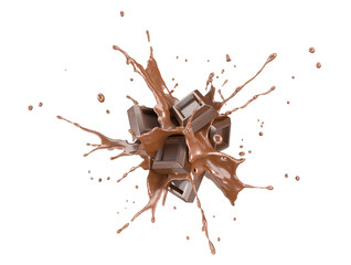 Chocolate blocks splashing into a liquid chocolate splash burst.