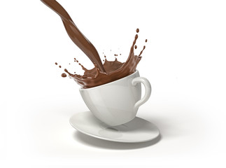 White cup on saucer, with liquid chocolate pour and splash.