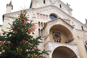 Verona Cathedral decorated with Christmas tree, Italy