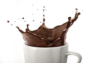 White cup with dark chocolate splash. On white background.