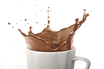 White cup with milk chocolate splash. On white background. close up view.