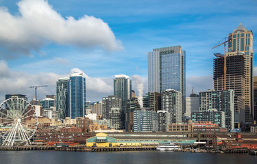 Seattle waterfront and skyline, with the Space Needle showing